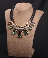 Luxury Women Collar Chunky Chain Multicolored Glass Stones Choker Bib Statement Necklace Fashion Pendant Jewelry for Women 2015