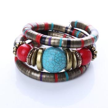 Горячие ювелирные изделия тибетский серебряный браслет бирюзовый инкрустация округлость ...