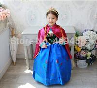 2015  clothes Romance elsa princess dress Elsa & Anna Movie Cosplay Costume kids girls Blue Purple Dress party dreeese 5pcs/1lot