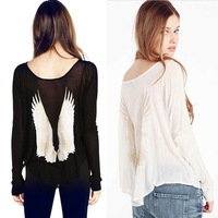 Spring Dream Angels wings retro print loose long-sleeved T-shirt do the old wings woman