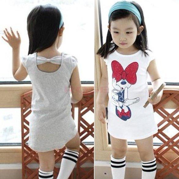 Brand New Summer Baby Girl Dress Kids Clothes 2015 Short Sleeve Cotton T Shirt Girl Cartoon Pattern Casual Dress Girls Clothes(China (Mainland))