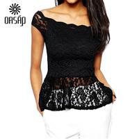 OASAP Women Black off-shoulder Lace Peplum  Shirt Top Blusas De Renda Feminino Top Cropped