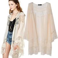 women's casual coat jacket lace long style Summer autumn stitching chiffon shawl wholesale