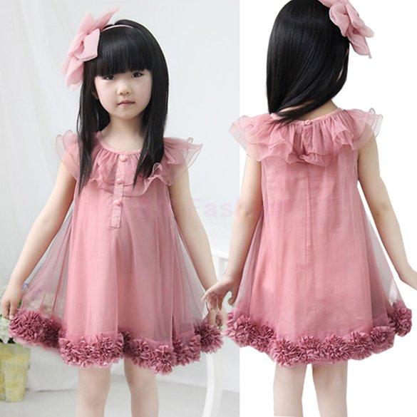2015 New Summer Baby Girls Chiffon Flowers Hem Lace Princess Tutu Dress Kids Casual Sleeveless Party Dress Children Clothing(China (Mainland))