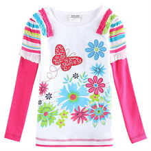 Floral Girl Shirt Nova new Girls t-shirts Spring/Autumn Long Sleeve T Shirt for Children Girl F5742
