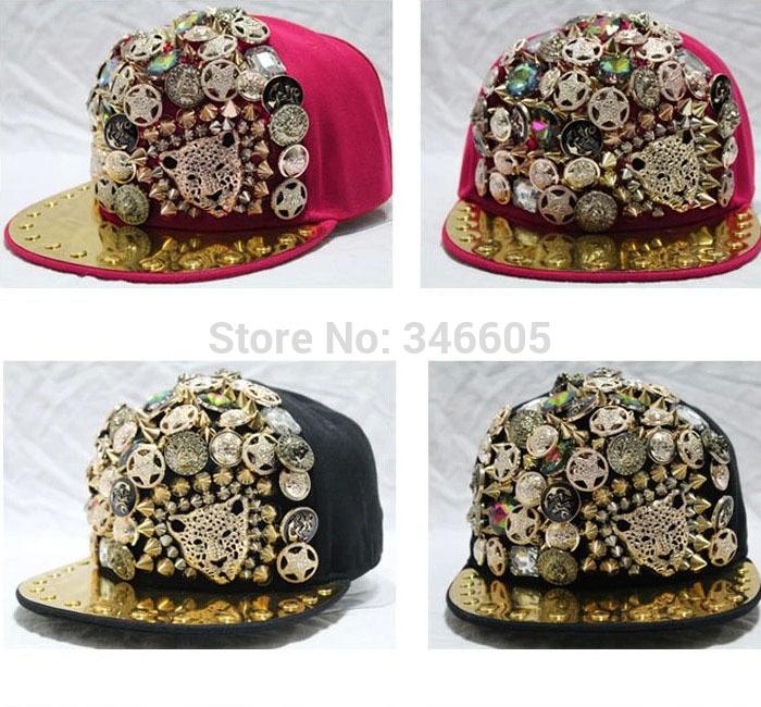 Popular Design Rapper Hat Spike Rivet Spiky Studded Buttons Snapback Baseball Cap Punk Women Men Hip-hop Caps 5 Colors(China (Mainland))