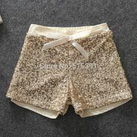 Girls Summer Shorts 2015 Cotton High-grade Golden Sequins Shorts Baby Girl Shorts Children's clothing 5pcs/lot wholesale