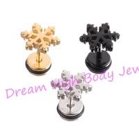 Snow Flower Barbell Punk Earring Ear Stud Titanium Golden Black Silver 316L Stainless Steel Cute Hot Sale Free Shipping