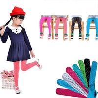 Children Girls Tights Kids Velvet Slim Stockings Full Foot Stocking Cute Dot  Baby Clothing
