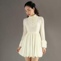 2014 spring and autumn fashion vintage Ruffled Heaps Collar  lace slim medium-long one-piece dress female y3985