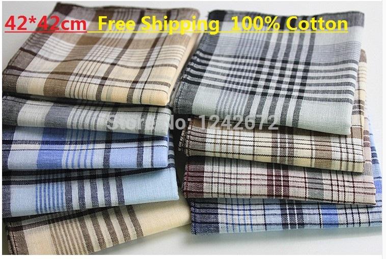 10pcs/lots 42*42cm Cheap mens 100% cotton plaid handkerchief hanky pocket squares super value wholesale free shipping(China (Mainland))