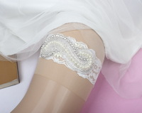 New Design New Fashion Wedding garter Rhinestones Applique Lace bridal Garter Handmade White lace Color