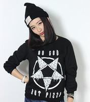 Harajuku fashion hoodies women girl 2015 fleece sweatshirt cute pizza star pattern print female sweatshirt 3d hoodies Nora10764