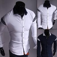 2015 New Arrival Men Shirt Long Sleeve Temperament Men Shirt Free Shipping Navy blue  AND Whte  UC804