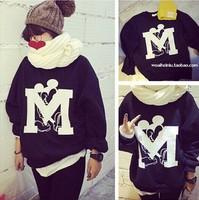 Hoodies womens 2015 harajuku fashion cute cartoon mouse a big M letter printed sweatshirt hoodies fleece women Nora20751