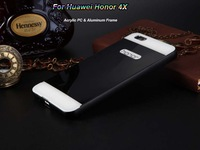 Newest Luxury Style Acrylic Back Cover And Aluminum Frame For Huawei Honor 4X 4G LTE Mobile Phone Bag Case