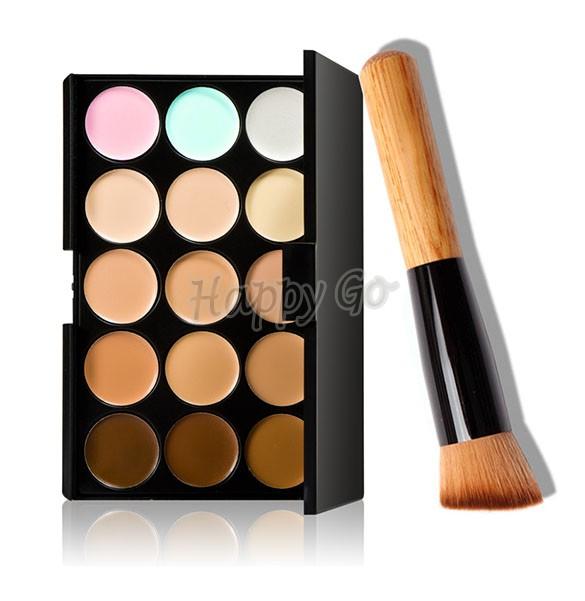 15 Color Makeup Concealer Hide Blemish Natural Face Concealer Cosmetics Contour Make Up Concealer Palette + Brush SV21 SV015340(China (Mainland))