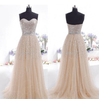 GRACEFUL OFF SHOULDER STRAPLESS SHINY CHIFFON LONG EVENING DRESSES PROM PARTY DRESS FEAST FLOOR-LENGTH BALL GOWN