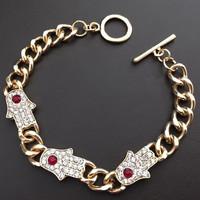 Fashion Jewelry Brand Hamsa Bracelet Crystal Mosaic Alloy Bracelets