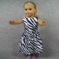 """Doll Clothes Fits 18"""" American Girl Dolls, Doll Dress, Black & White Leopard Party Dress, Girl Birthday Gift, Xmas  Present, F33"""