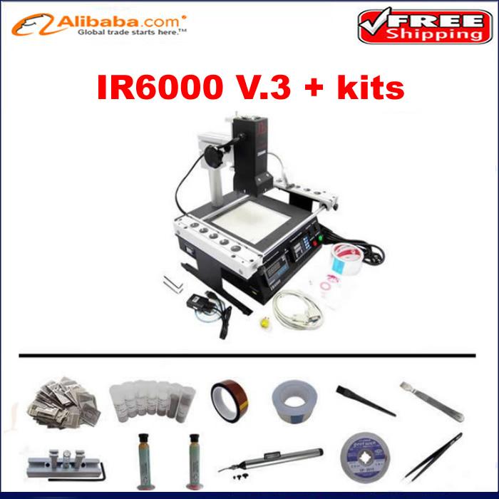 Free ship!Best Infrared BGA Rework Station price ir6000 V.3 upgrad from IR6000 V1,with bga reballing kits stencil, flux, ball(China (Mainland))