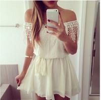 NEW 2015 Women Summer Dress Causal White Lace Dress vestido de festa roupas femininas women clothing