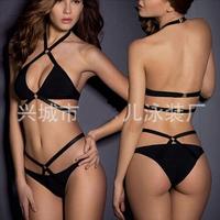 2015 Summer Black Bikini Set Women Triangle Strappy Bottom Scrunch Bandage Swimsuit String Micro Brazilian Swimwears Fit H1374