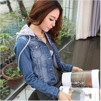 Dropshipping!2015 Korea spring Medium style women Denim jacket fashion slim coat