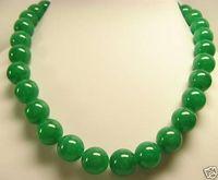 "Beautiful GREEN Jade 10mm Beads Necklace 18"""