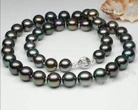"8-9mm Tahitian Black Natural Pearl Necklace 17"" AAAA+"