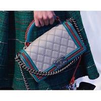 Women ladies original genuine leather checker plaid shoulder CF bag handbag shoulder bag tote