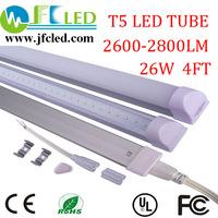 Free shipping 4pcs led tube t5 1500mm 26w 3pin 5ft led t5 tube light 110v /240vt5 led fluorescent tube high power 2200-2400lm
