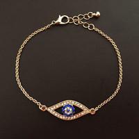 Fashion Jewelry Gold/Silver Alloy Bracelet & Bangles Evil Eye Bracelet with Blue Eyes