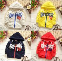 4pc/lot wholesale kids hoodies 2015 baby jackets cotton children sports coats factory 719