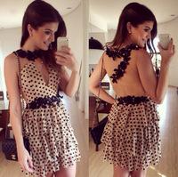 Chiffon Mesh Patchwork vestidos Sexy Dress Ladies'  Dresses Women's Dot Lacework Dress Women Summer Dress 2015  hot sell