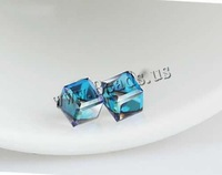 Free shipping!!!Crystal Earrings,2014 new european and american style, Zinc Alloy, with Crystal, stainless steel post pin, Cube