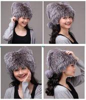 Winter Hat Real Silver Fox Fur Hat Russian Ushanka Cossack Women Beanie HC 002 1