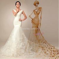 Fashionable 2014 Free Shipping Sexy V-neck Sleeveless Cap Sleeve Up Floor-length Mermaid Wedding Dresses Bridal Gown2014_bridal