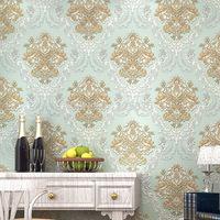European non-woven wallpaper embossed wallpaper living room bedroom TV backdrop Natural fiber non-woven damascus wallpaper