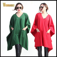 Free Shipping 2015 New Spring Womens Green Red Casual Loose Robes Girl's Batwing Sleeve Solid V-Neck Elegant Dress Vestidos H50