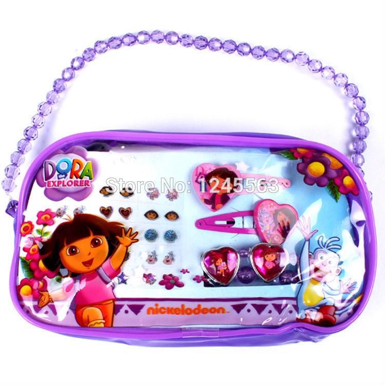 Retail Baby Girls Cartoon Headwear Children's Dora The Explorer Hair Accessory Set IN a Bag Kids Birthday Gifts(China (Mainland))