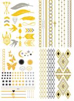 ( 4 piece )Fashion 2015 women jewelry temporary tattoo stickers flash metal golded tattoos henna accessories ,T01-04
