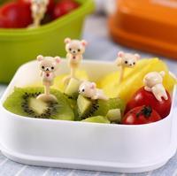 6pcs/bag mini cartoon rilakkuma fruit fork sign japanese toothpick bento lunch for children decorative plastic sign