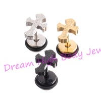Newest style Cross Earring Ear Stud Nail Barbell dull polish Gold Black 316L Stainless Steel frosted Fashion Jewelry