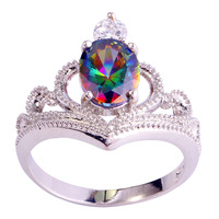 2015 Fashion New  Party Rainbow Sapphire Jewelry 925 Silver Ring Size 6 7 8 9 10 Fascinate Women Free Shipping Wholesale