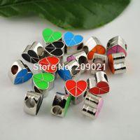 DIY 100Pcs Mixed Color Enamel Heart Shape European Beads Findings Fit Bracelet