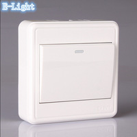 New Style Wall Light Switch, White PC Inflaming retarding Panel, Wall Light Push Button Switches AC110-240V 86 Type 1Gang 1Way