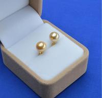 huge AAAA+10mm  round tahitan gold shell Pearl earring 14k