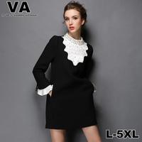 Women 2015 Spring Brand High Quality Plus Size Casual Black Patchwork Beading Office Work 4XL 5XL vestidos femininos P00138
