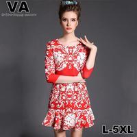 women Vintage 2015 Brand Casual Sexy Dresses Slim Red Mini Print Office Work vestidos femininos plus size xxxl 4XL 5XL P00141